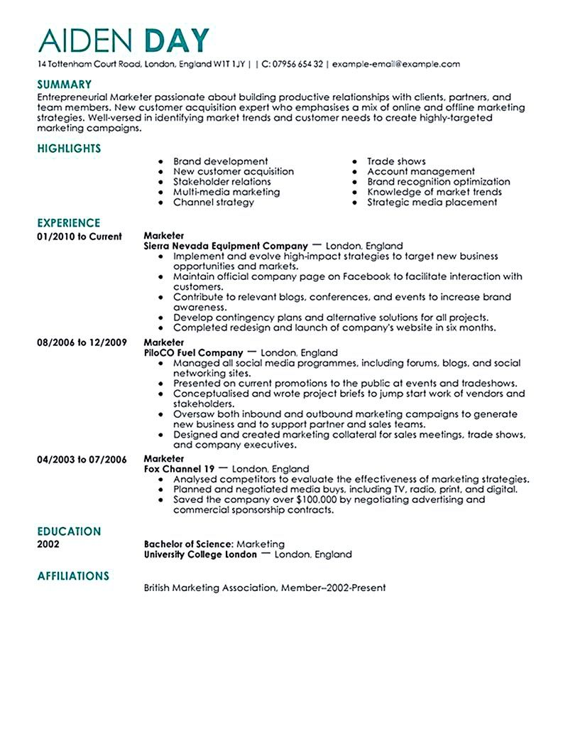 Experience In Marketing Resume Marketing Resume Will Be All About On How A Person Can Make The