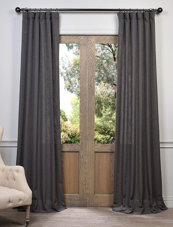 Slate Grey Heavy Faux Linen Curtain Grey Curtains Living Room Linen Curtains Drapes Curtains Living Room
