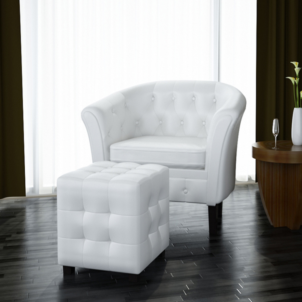 white Artificial Leather Tub Chair Armchair with Footrest White ...