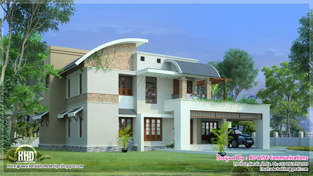 fantastic architecture design of home. House Exteriors  Three fantastic house exterior designs Kerala