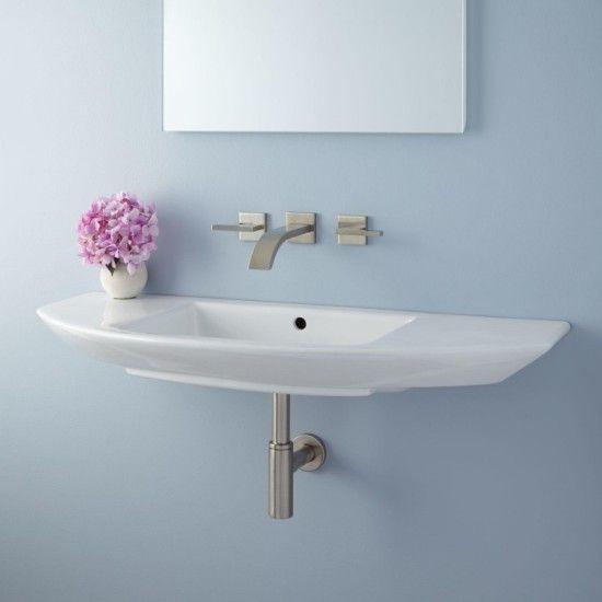 Narrow Small Wall Mount Bathroom Sink Installation Pedestal Narrow - Bathroom sink connections