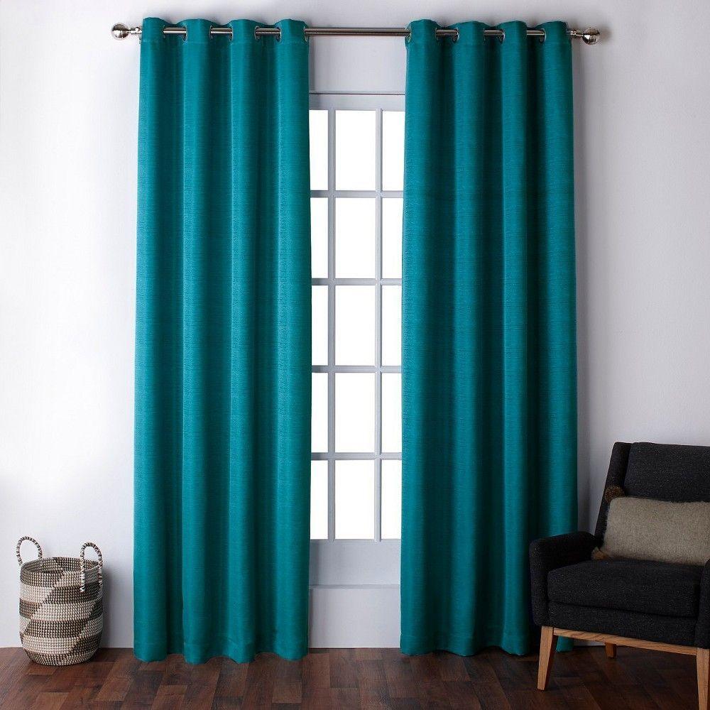 Virenze Faux Silk Window Curtain Panel Pair Teal 54 X108