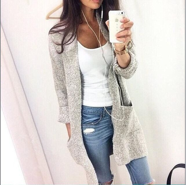 US $15.98 |11.11 Sale New natural color Casual women jacket  wide waisted open stitch O neck gray autumn knitted coat|jacket thermal|jacket suzukicoated peanuts – AliExpress