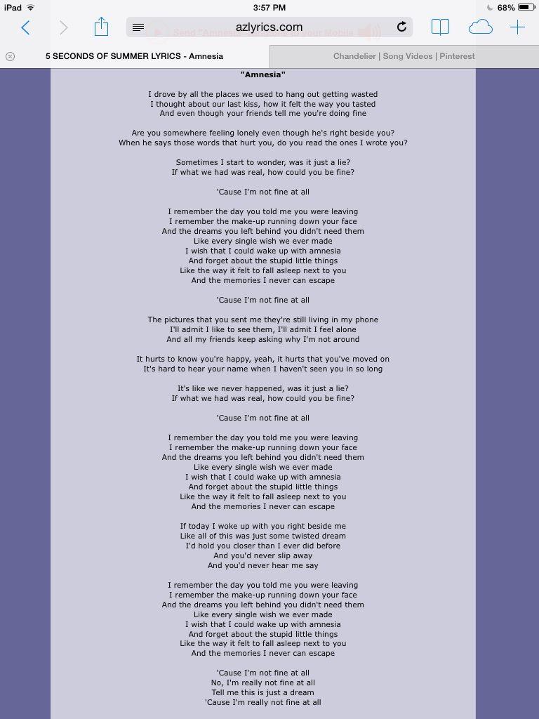 Amnesia | Song Lyrics | Pinterest | Amnesia and Songs