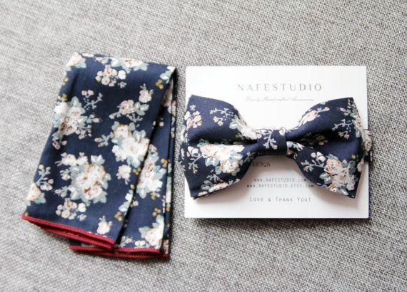 Men's Bow Tie Pre-tied Bow Tie For Men  Floral Bow by NAFEstudio