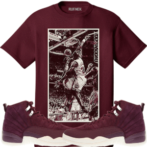 01b7b501571 Original Rufnek T-Shirt Jordan Retro 12 Bordeaux Sneaker Tees Shirt to Match  - SGMJ