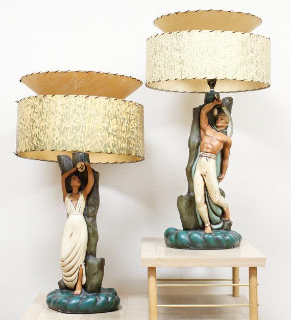 Vintage 1940 39 S Island Couple Chalkware Lamps Mid Century Mid Century Lamp Retro Lamp Mid Century Decor