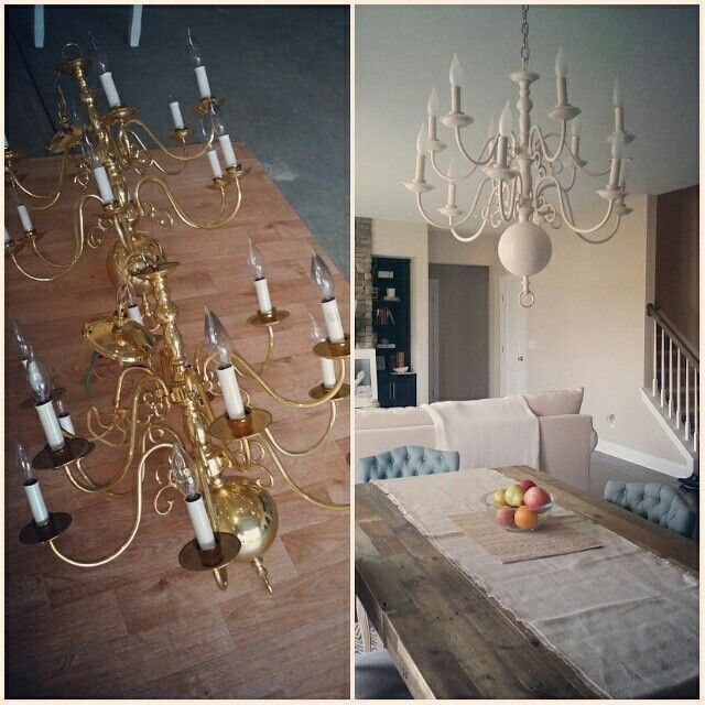 Before And After Old Brass Chandelier Painted With Heirloom White Rustoleum Spray Paint