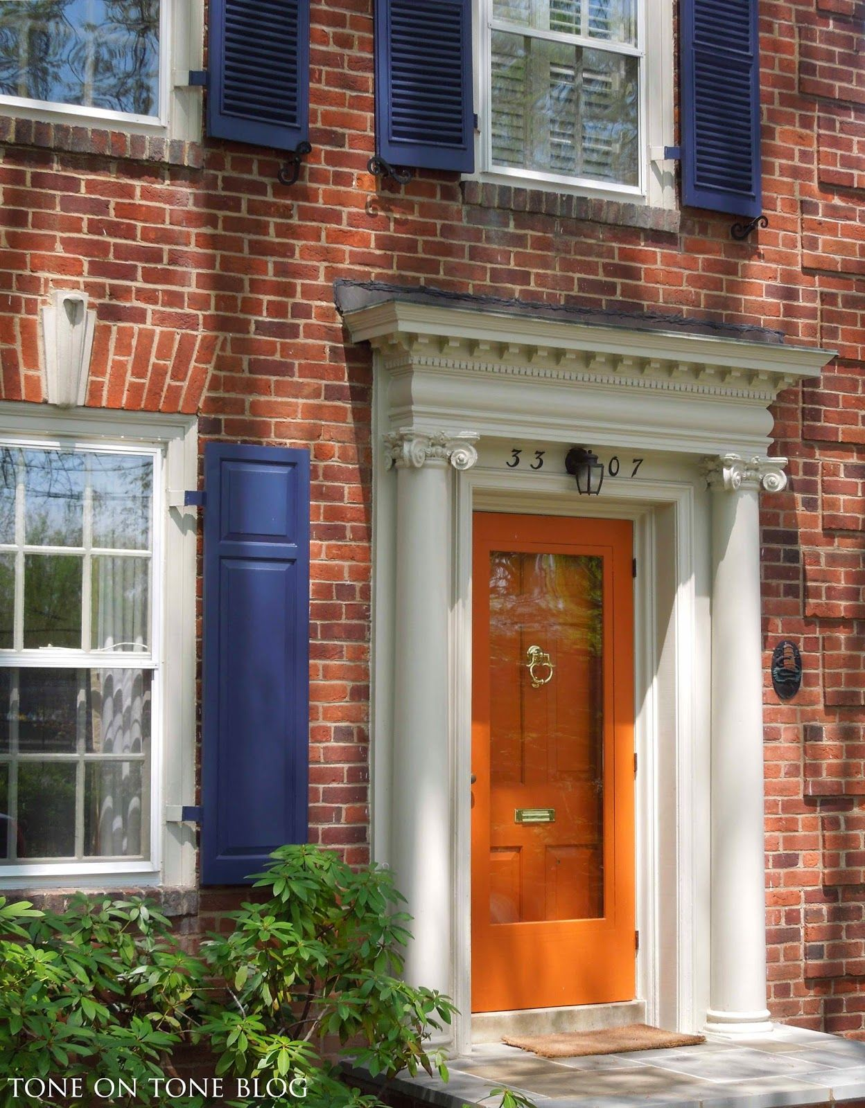 One of my favorite morning rituals is to take the dogs for - Front door colors for red brick house ...