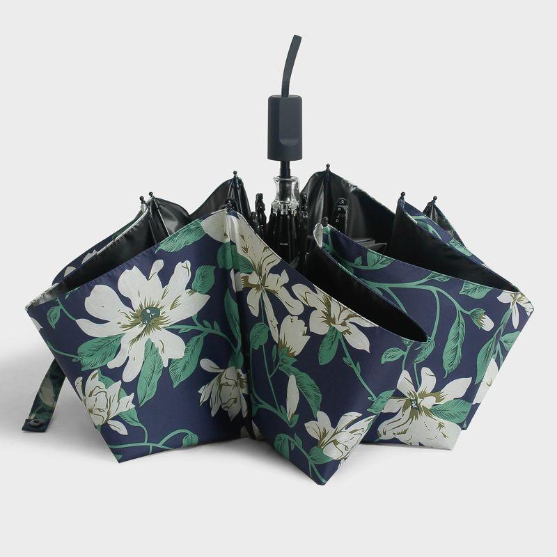 Camellia Umbrella Folding Dual-purpose Black Glue Small Fresh Sunshade UV Sunscreen Female Art Design