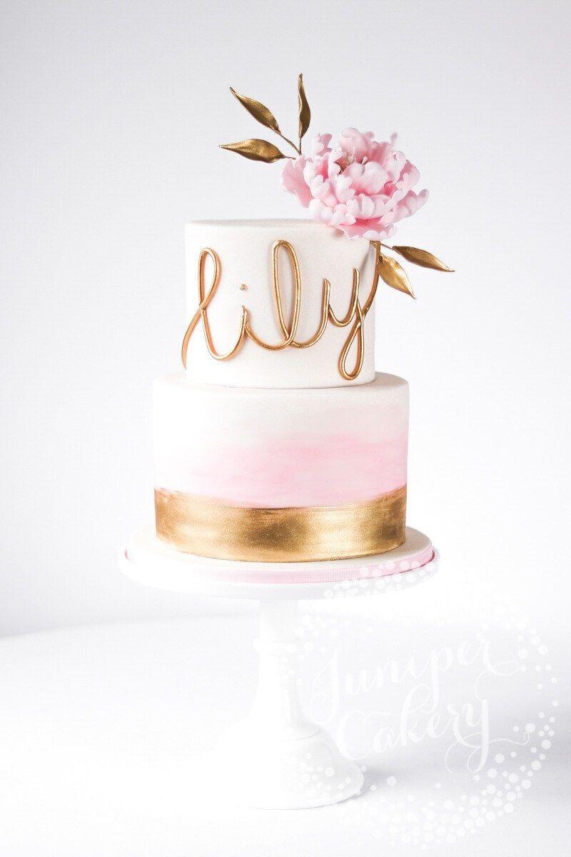 Elegant Blush Watercolour and Peony Christening Cake!