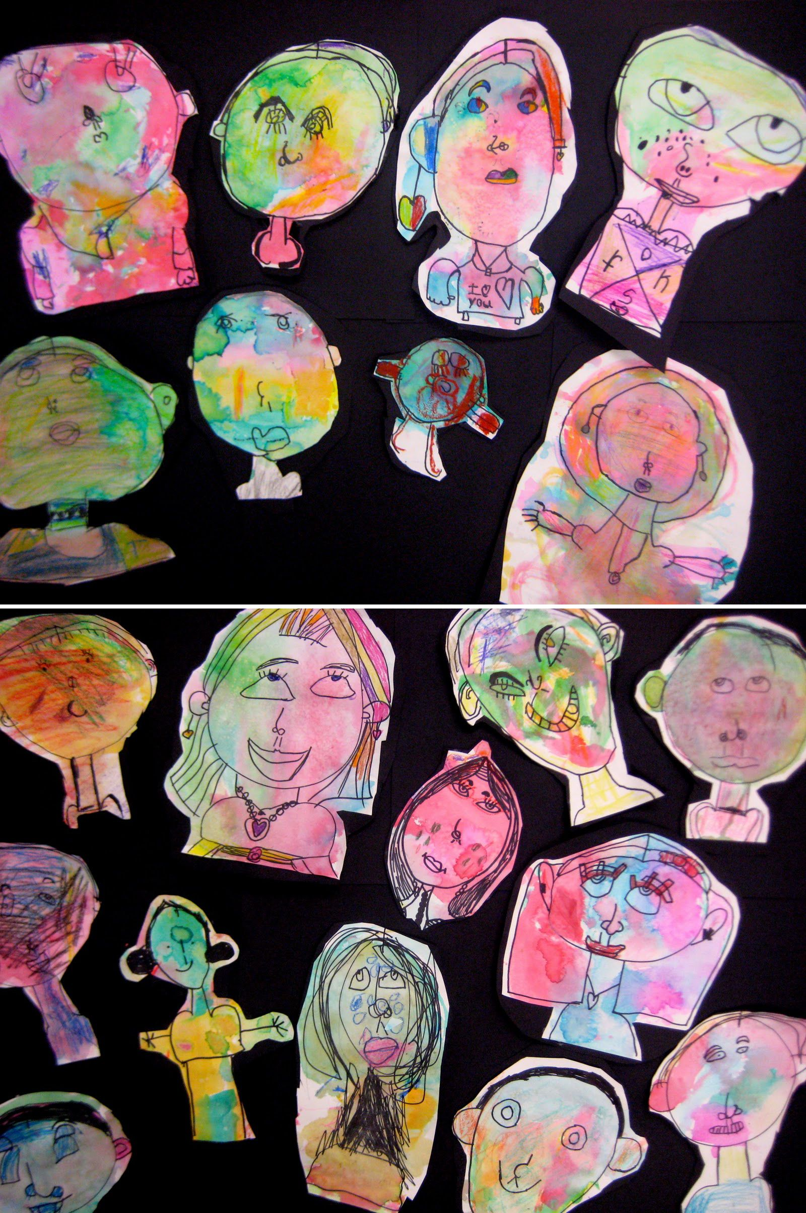 """K-1 learned about self portraits and then created a drawing of themselves using sharpie marker guided by my instruction. The students then painted ""all over their faces"" using squares of tissue paper dipped in water.."""
