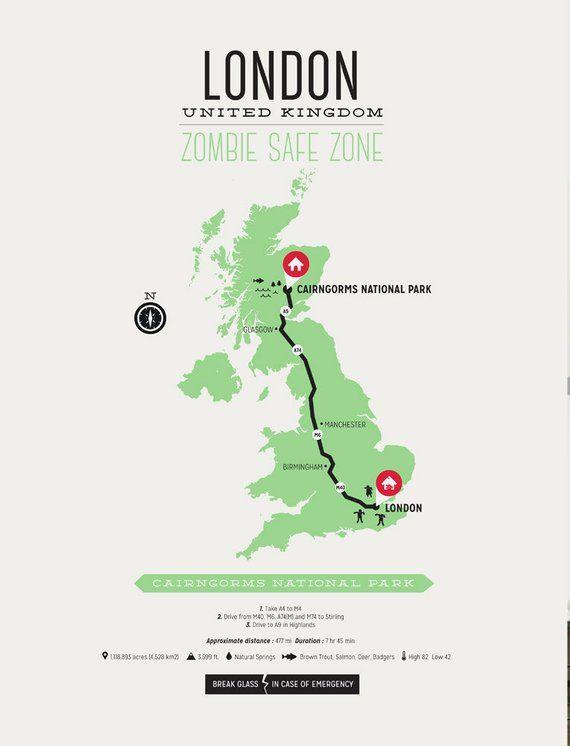 United Kingdom London Map.Zombie Safe Zone London England Poster United Kingdom London Map