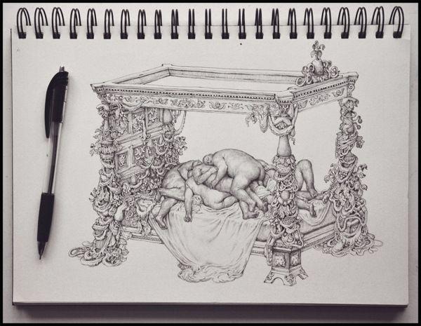 Ballpoint Pen Drawing by Anton Vill