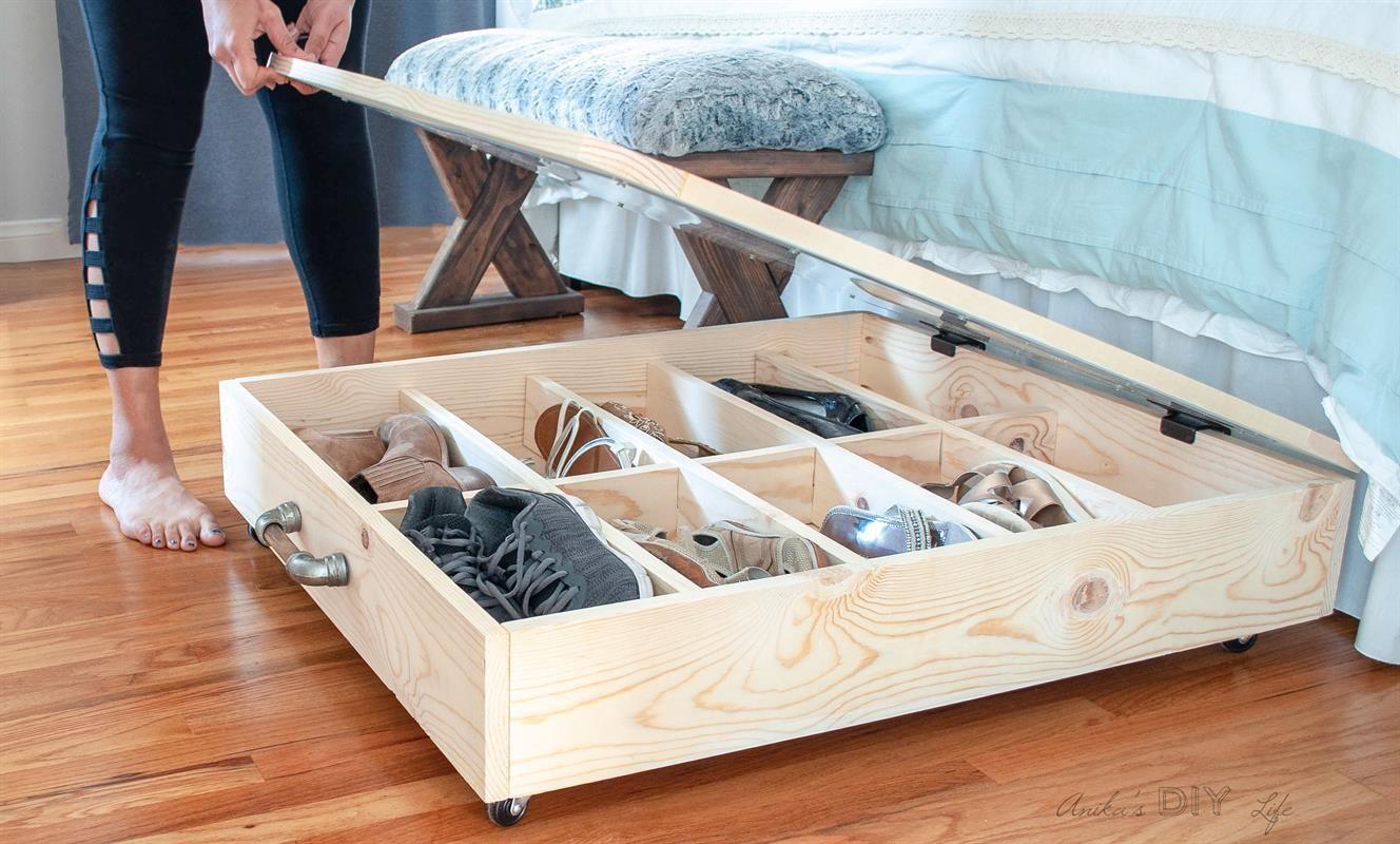 Diy Underbed Shoe Storage Buildsomething Com Under Bed Shoe