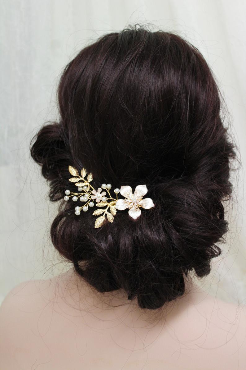gold wedding hair clip, bridal hair clip, wedding hair piece