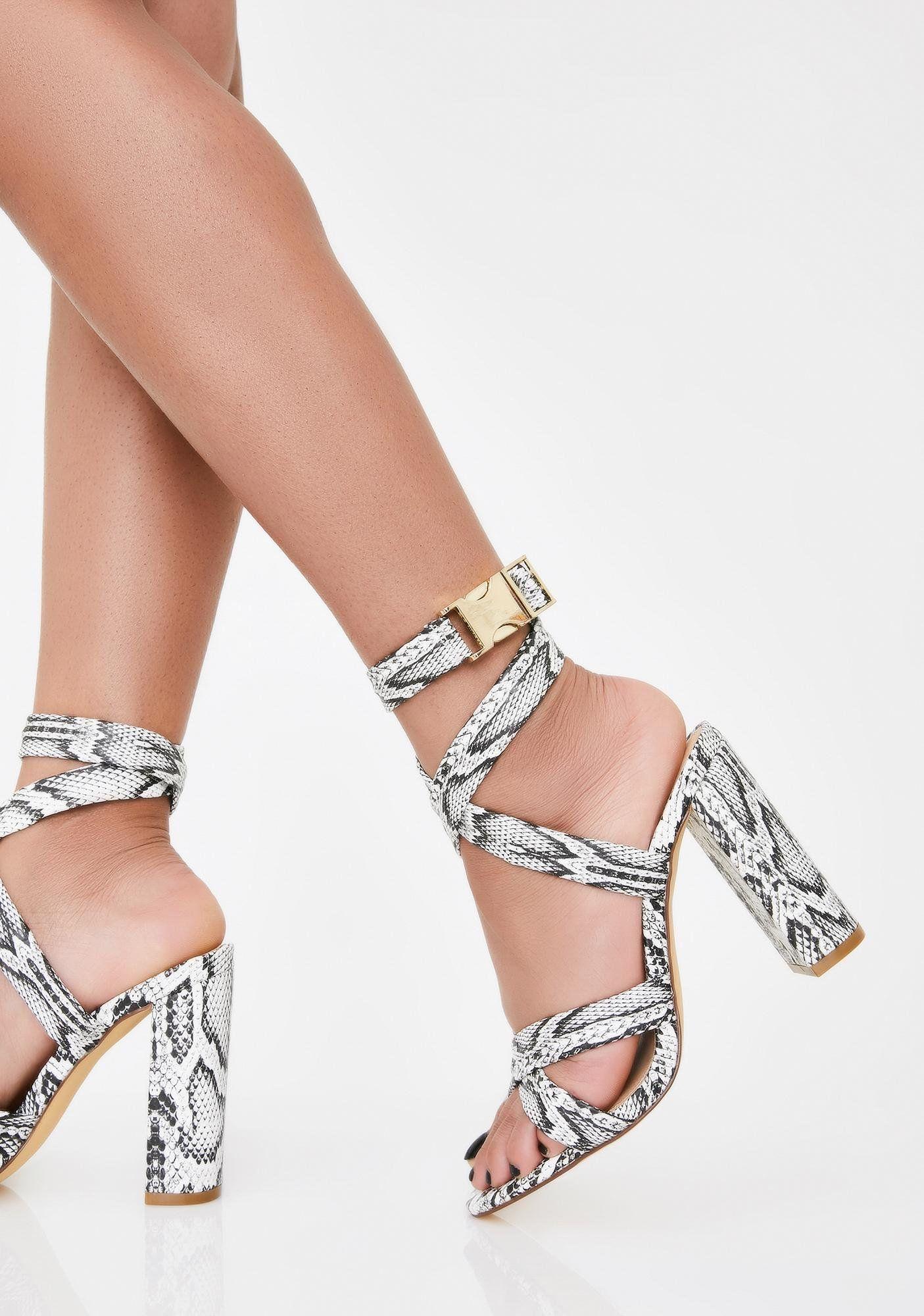 Snakeskin Strappy Buckle Block Heels
