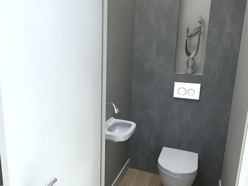 Beton cir badkamers de eerste kamer toilet zonder tegels pinterest badkamers badkamer - Wc muur tegel ...