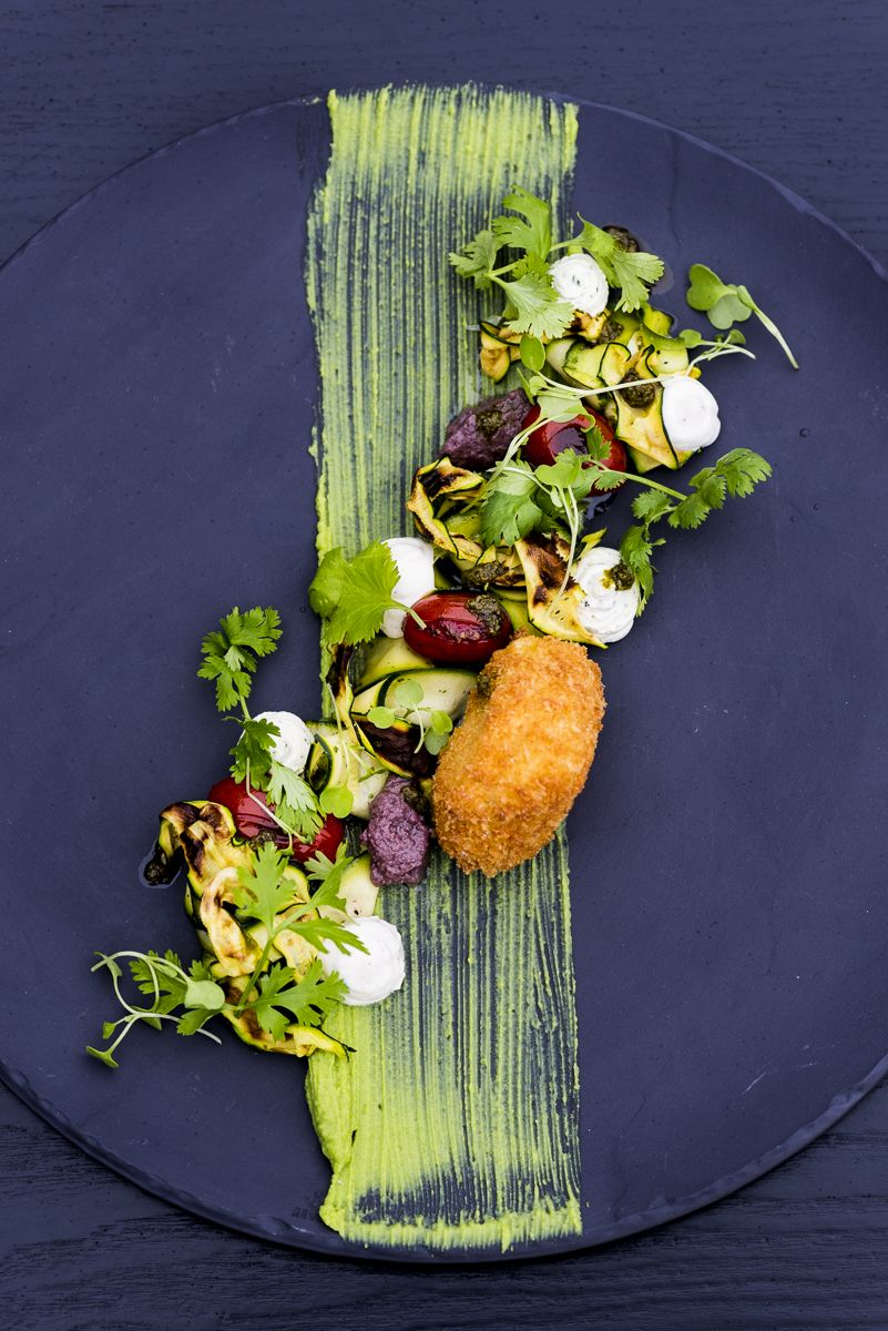 Deep Fried Camembert, Blistered Tomatoes, Baby Marrow, Coriander Dressing