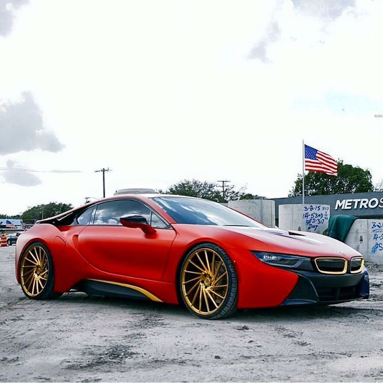 Matte Wrapped Red And Gold Bmw I8 Vossen Metrowrapz Exotics