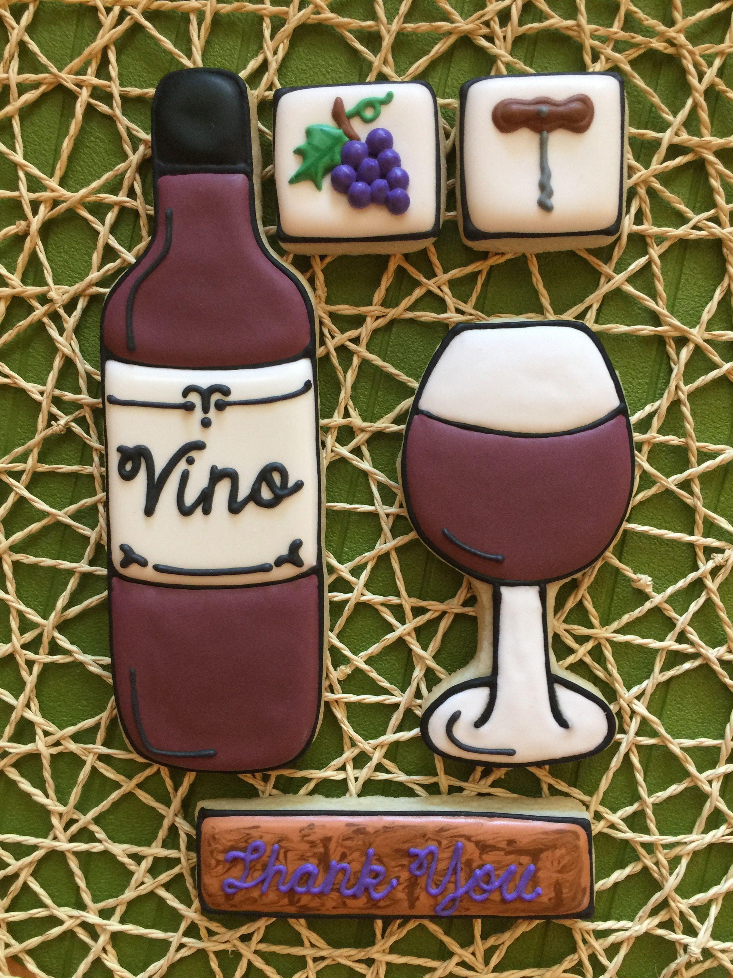 Wine Glass, Wine Bottle, Grape, Cork Screw Cookies