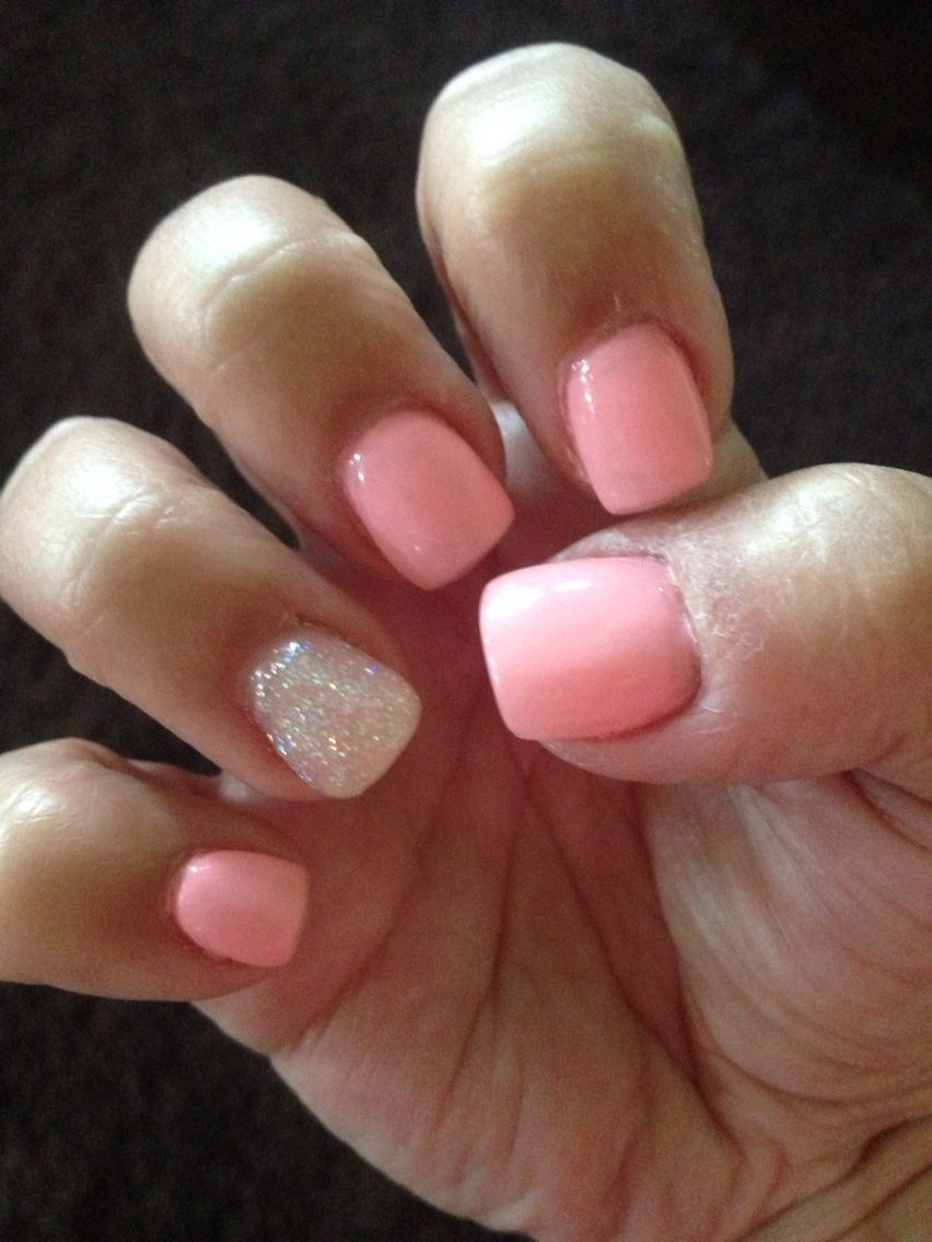 light pink short nails with iridescent