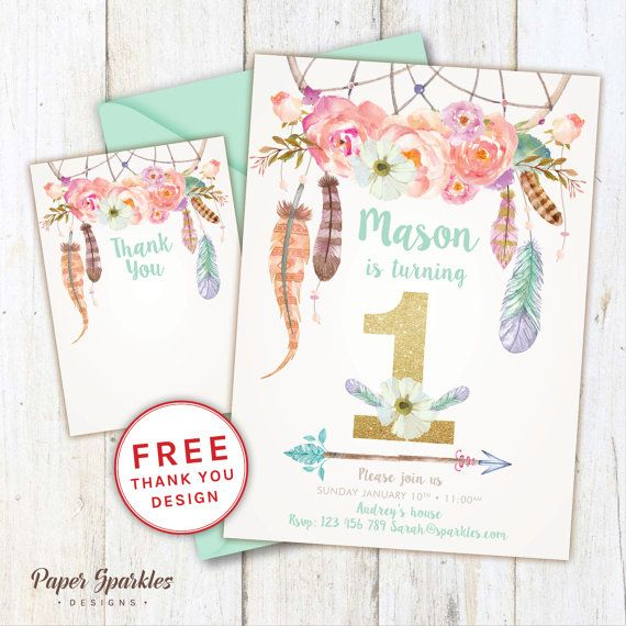 First birthday invitation, dream catcher invitation, glitter invitation, first birthday, mint