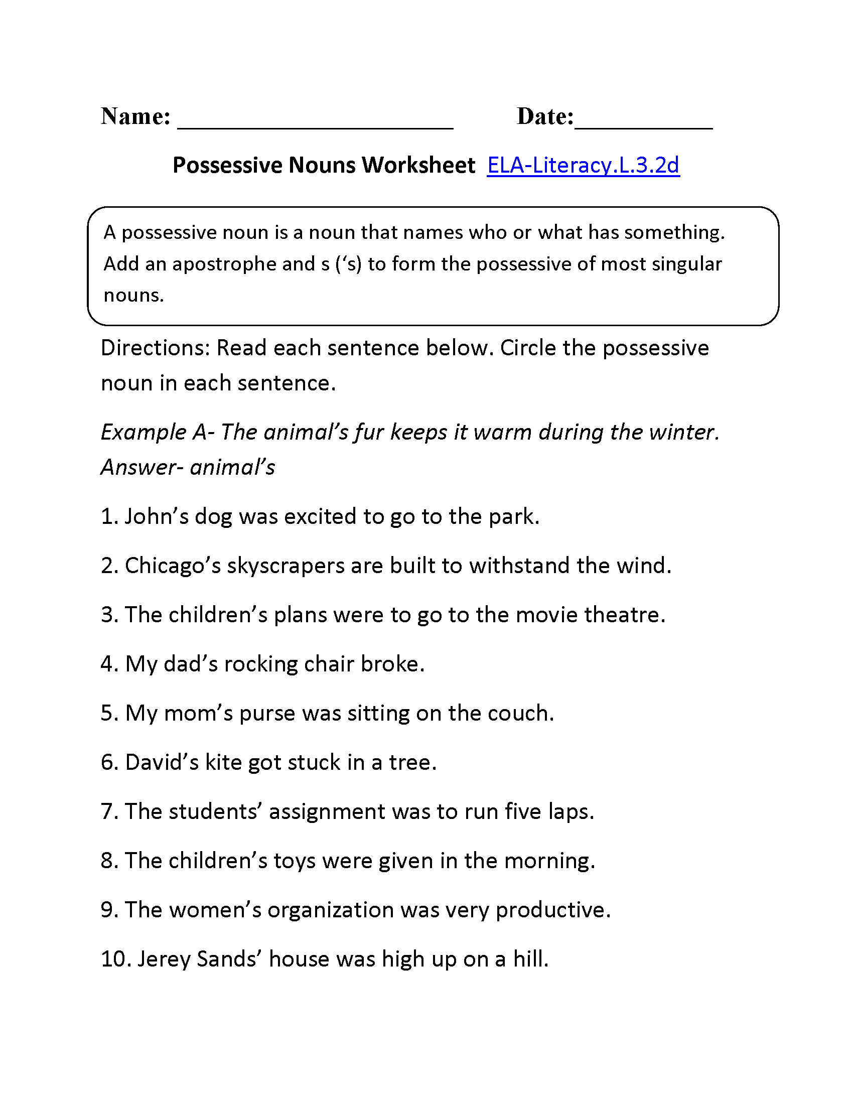 Possessive Nouns Worksheet  L  Third Grade