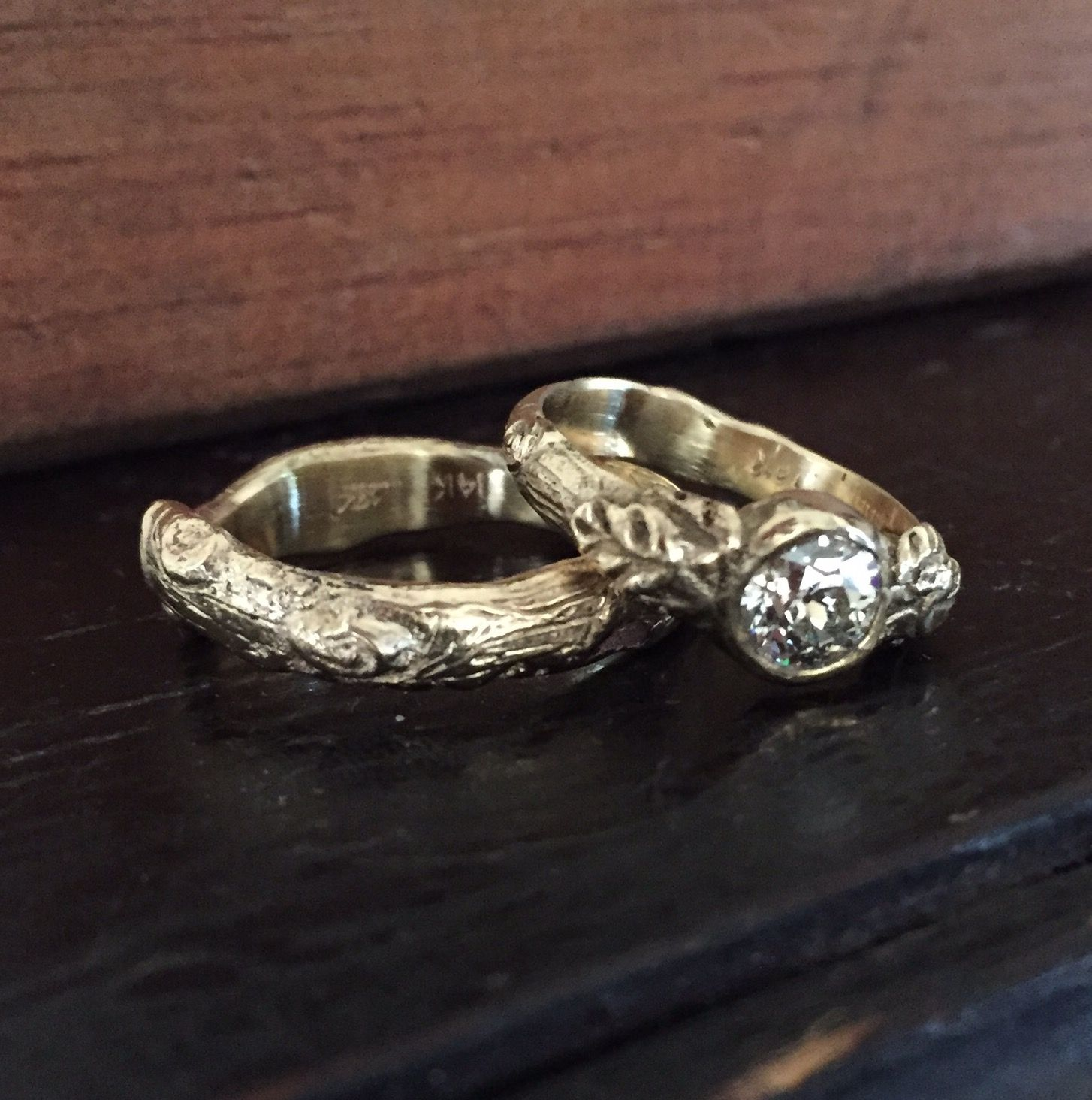 Leaf and twig wedding ring set 14k recycled gold and antique
