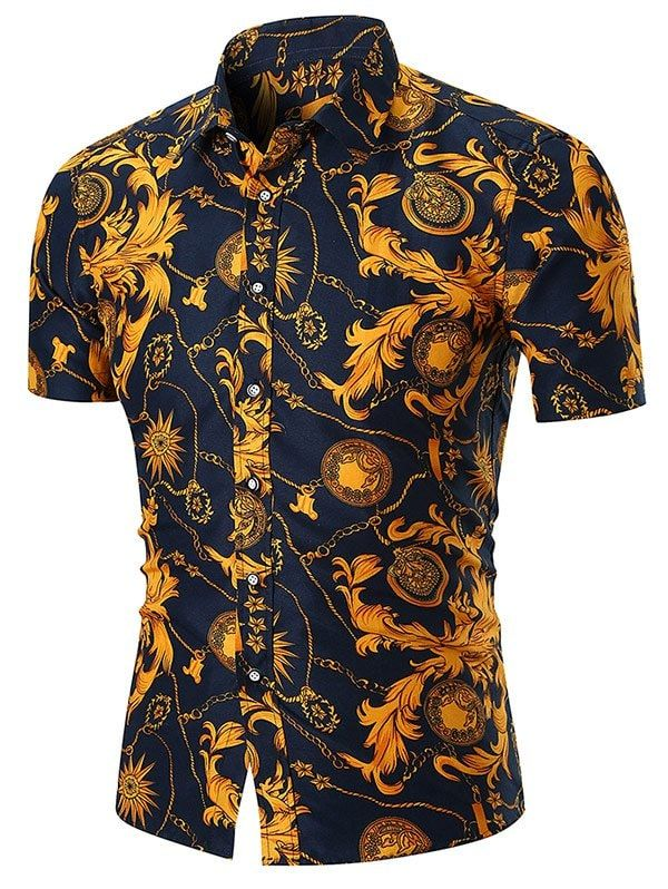 Retro Goth Men/'s Dress Shirt Gold Floral Casual Long Sleeve T-Shirt Dark Blue