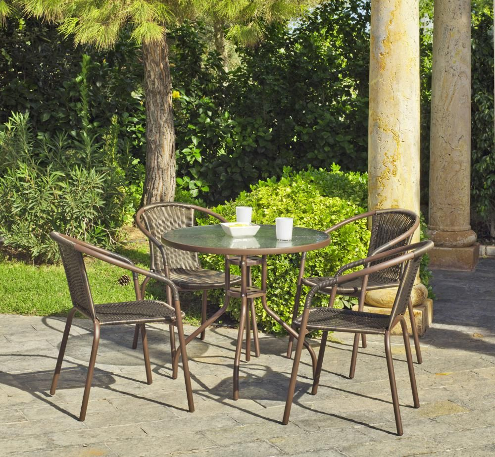 Salon de jardin Janeiro 1 table + 4 fauteuils sur Jardindeco. Petit ...