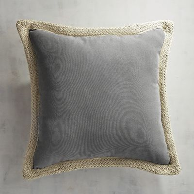 Graphite Jute Trim Pillow Jute Pillows And Office Spaces Interesting Jute Pillow Cover With Braided Trim