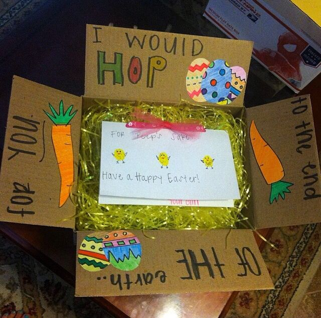 Made this easter box for my boyfriend who is at tech school made this easter box for my boyfriend who is at tech school thought it was a cute idea to fill it with some goodies and decorate it just a little box negle