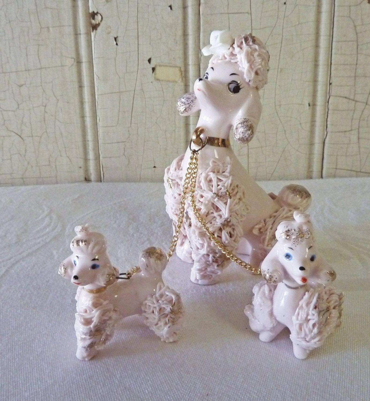 Set//2 Poodle White dog lying /& Standing Miniature Ceramic Figurine