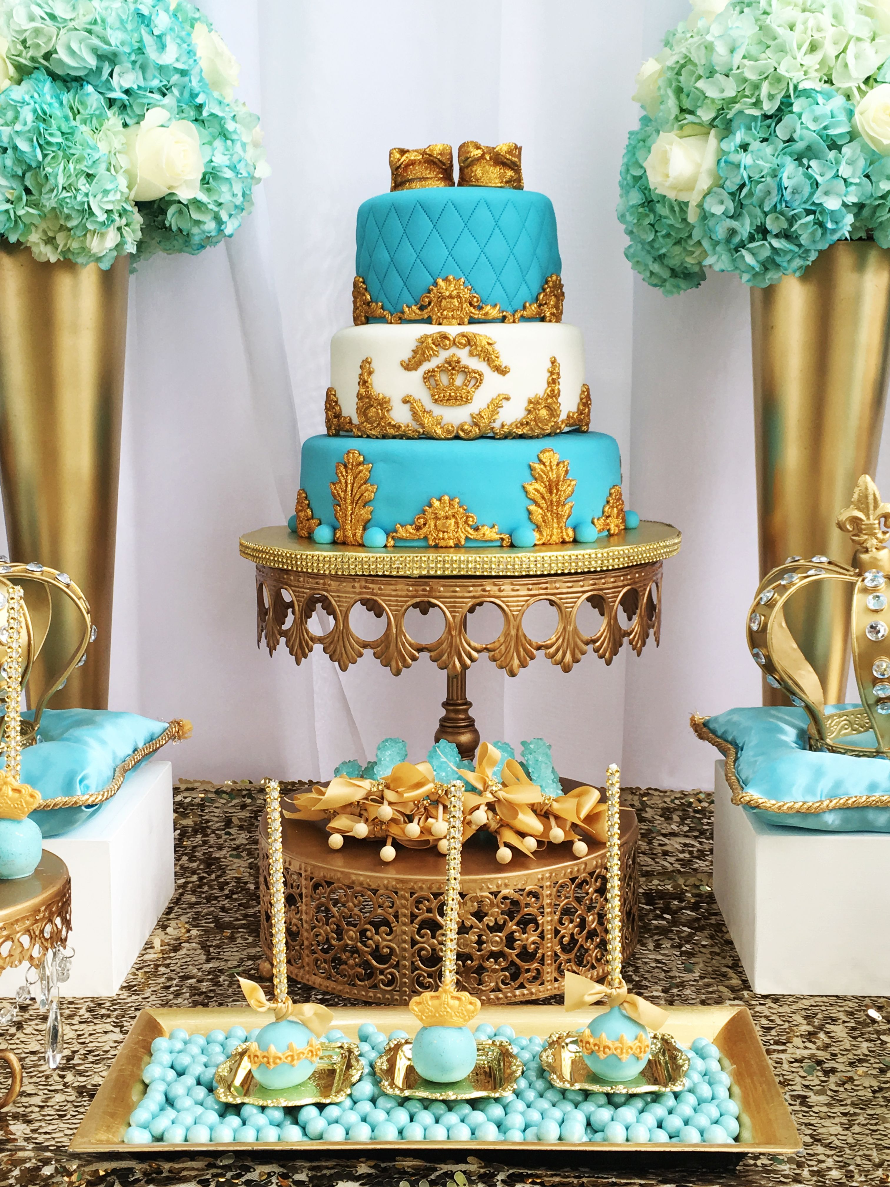 baby blue and gold wedding cake royal crown baby shower cake gold blue cake by 10991