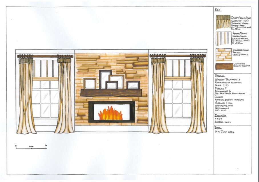 Interior Design wall elevation rendered sketch