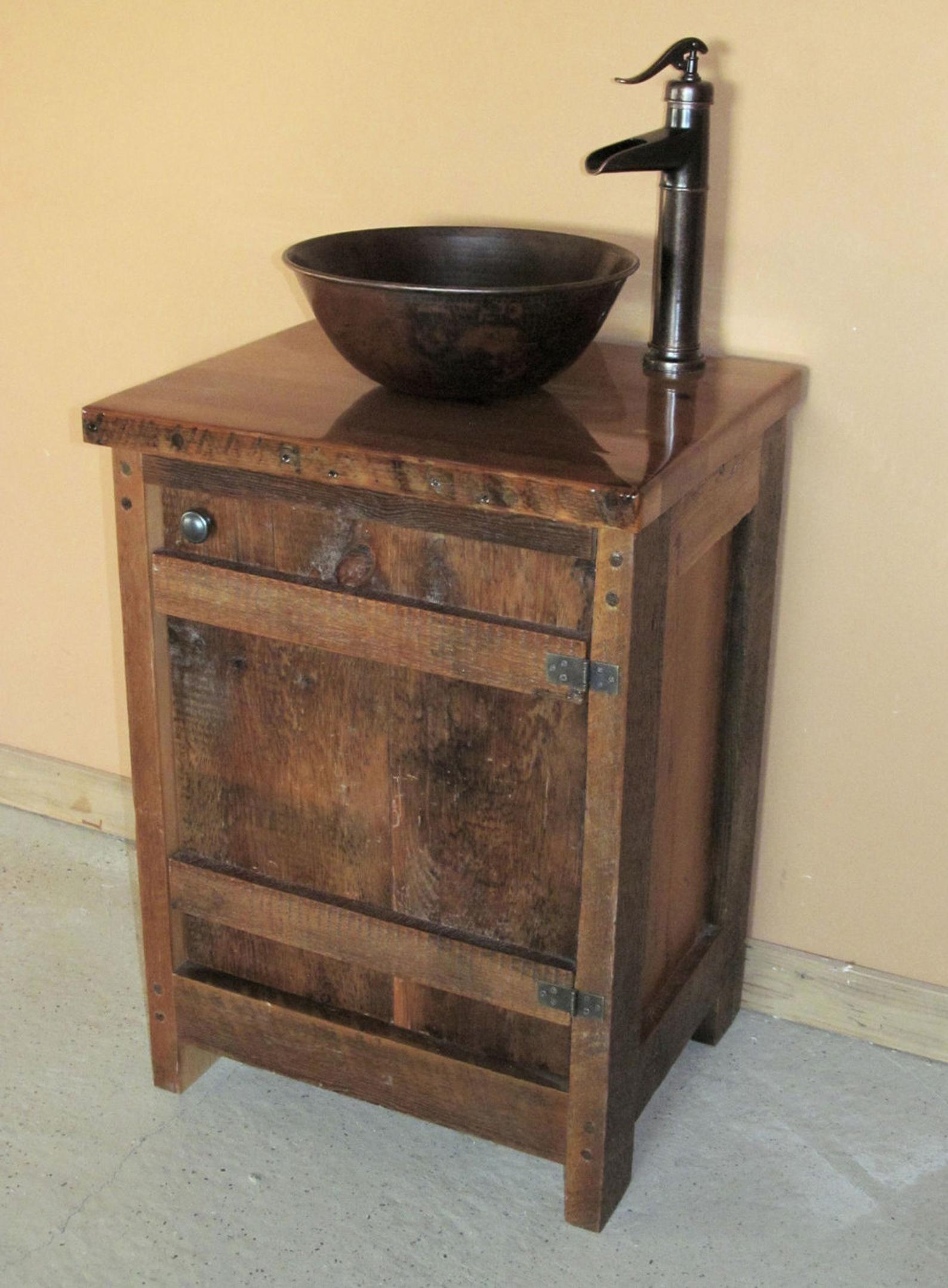 24 Inch Barn Wood Batten Door Vanity Wood Bathroom Vanity Wood