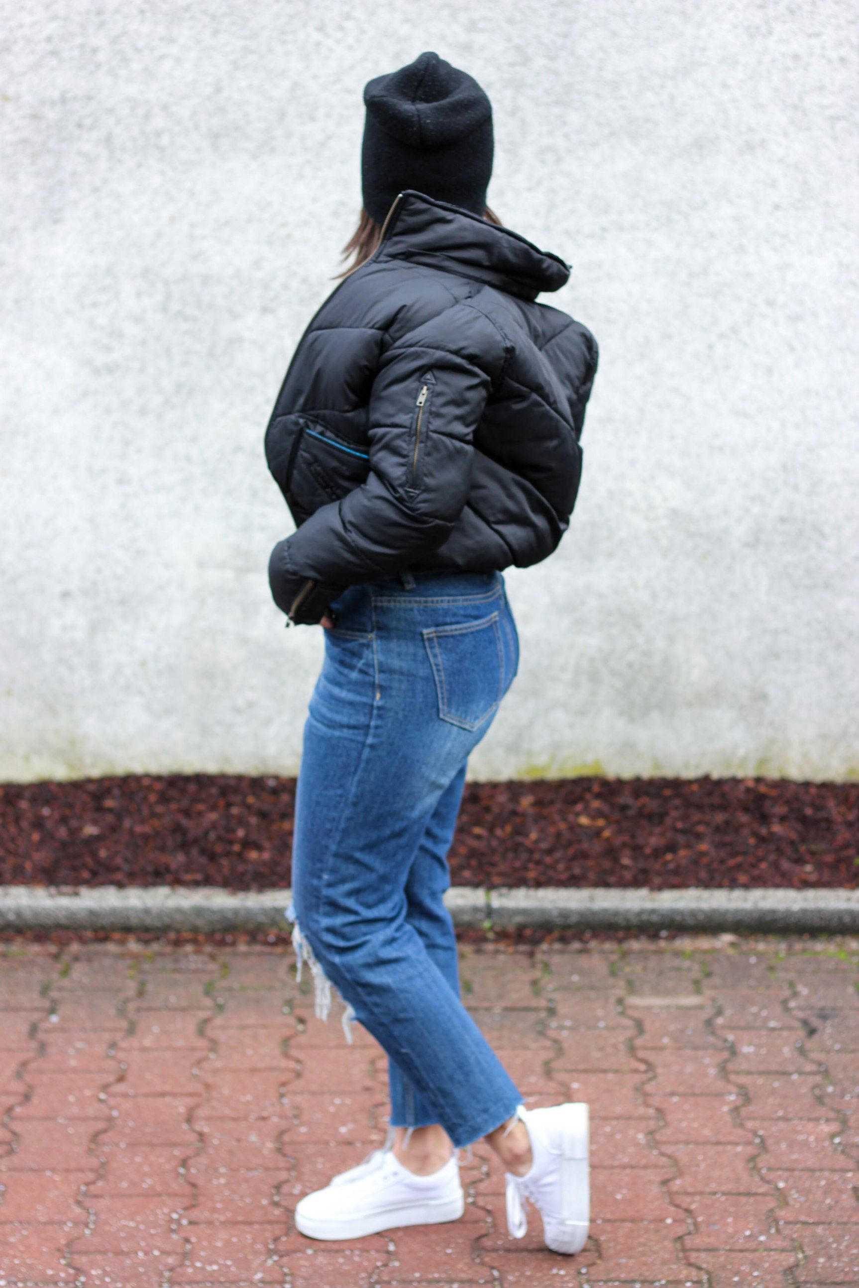 Puffer Bomber Jacket A Blank Space Jeans And T Shirt Outfit Black Puffer Jacket T Shirt And Jeans [ 2589 x 1726 Pixel ]