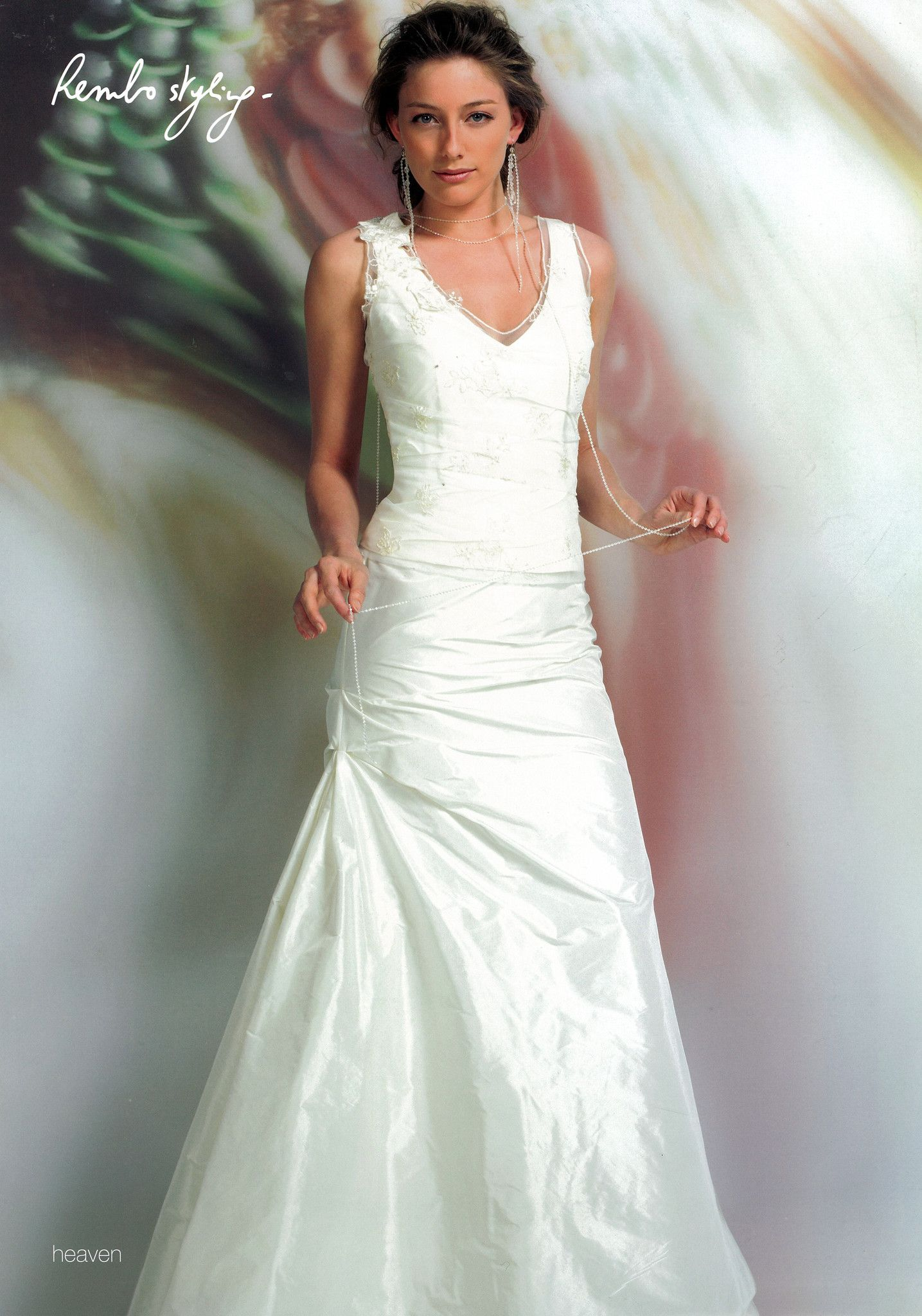 Cute rembo styling heaven uk wedding dress sample ivory lace bodice with straps and fit and