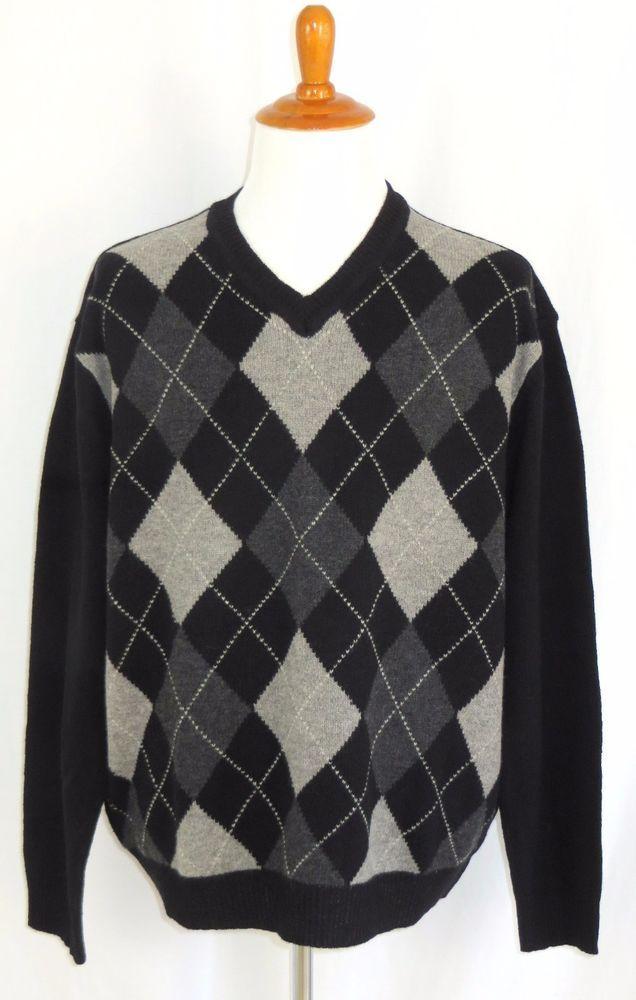 a8861f058248 Mens 100% Lambswool Argyle V-Neck Sweater Club Room Grey Black XL #ClubRoom  #VNeck