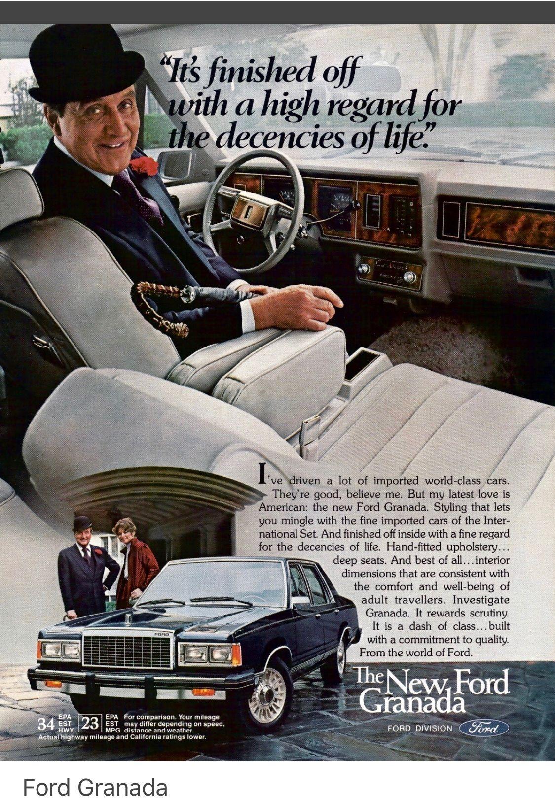 Ford Granada Europe Patrick Mcnee California Usa Ad