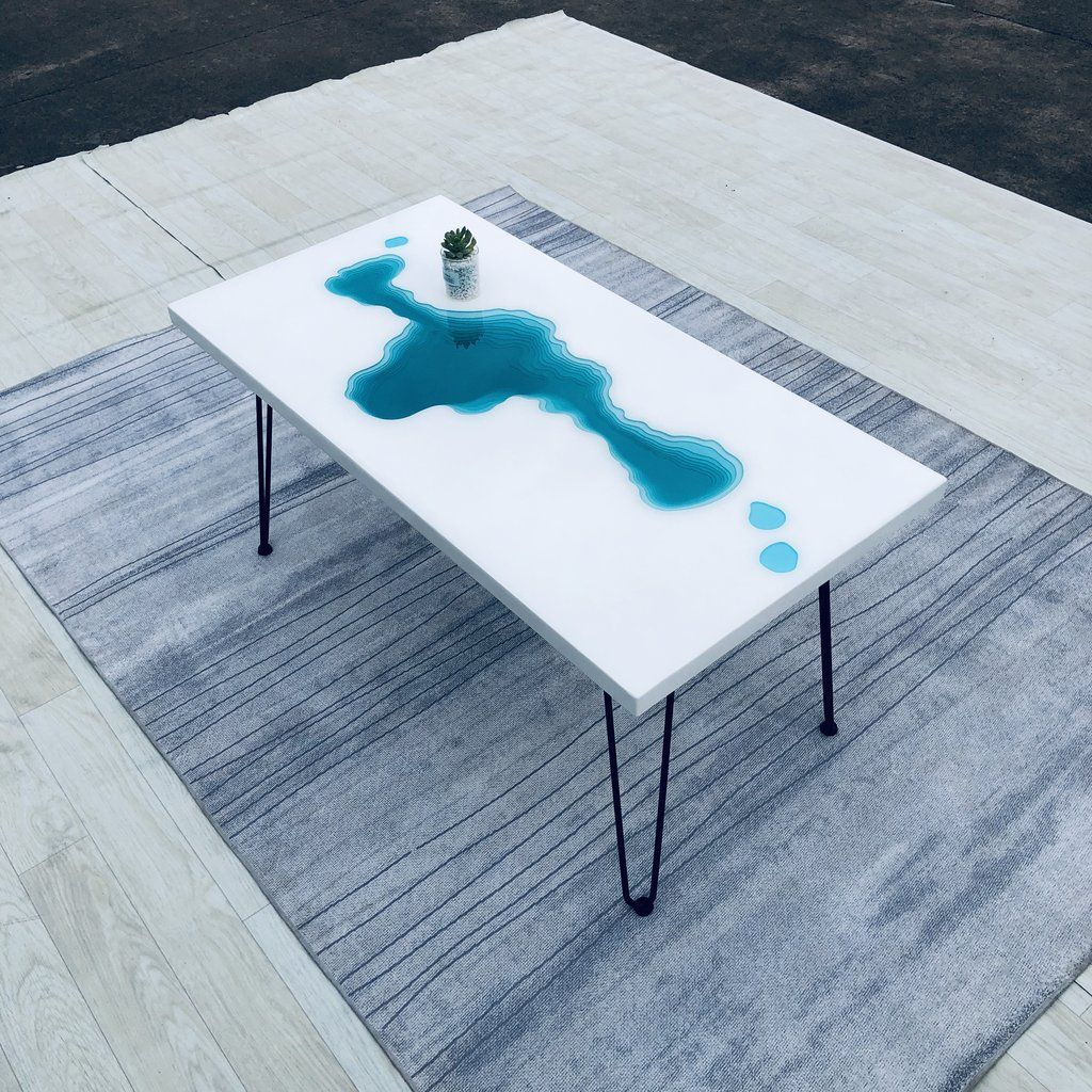Mkrt 190653 White Wood With Blue Resin Layers Abyss Design Epoxy Table Top Diy Epoxy Table Top Diy Table Top White Wood