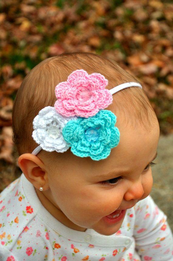 Crocheted Flower Headband Hair Bling Crochet Flower Headbands