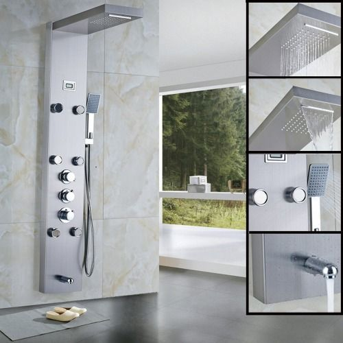55 Stainless Steel Rainfall Shower Panel Rain Massage System With