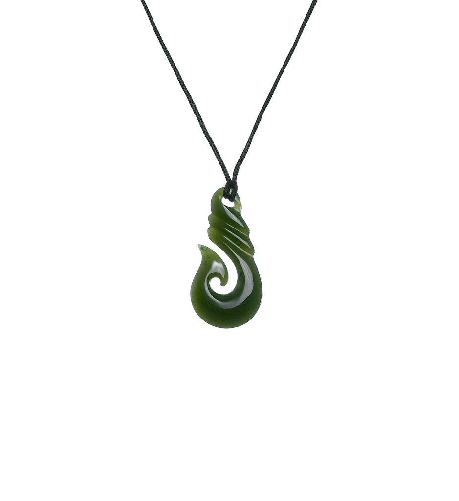 Traditional green jade fish hook necklace mountain jade new traditional green jade fish hook necklace mountain jade new zealand mozeypictures Choice Image