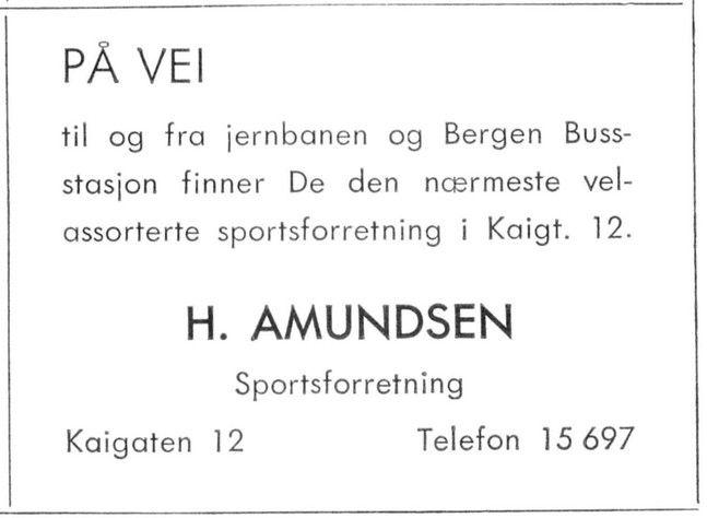 H. Amundsens sportforretning holdt til i Kaigaten.  Annonsen er fra 1959. Fotomuseum Bedrift.