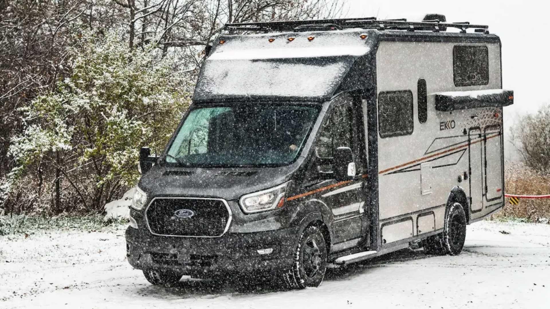 The Winnebago Ekko Is A Camper Van Made For Winter Ford Transit Class B Camper Van Winnebago