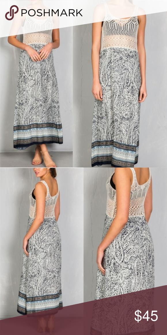 b2f40f34e3c2 CROCHET MAXI DRESS PRINTED MAXI DRESS WITH CROCHET UPPER AS SEEN Fabric:  70% RAYON / 30% ACRYLIC Dresses Maxi