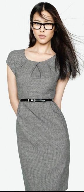 d465c8b6 sheath dress workwear grey modern office women fashion inspiration pleated  neckline cap-sleeve