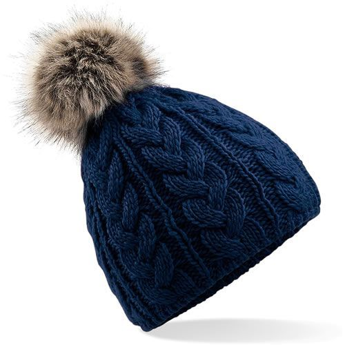 598302aa25f Cable Knit Faux Fur Large Pom Pom Hat - French Nav by Your Running Mate  Heavy cable knit